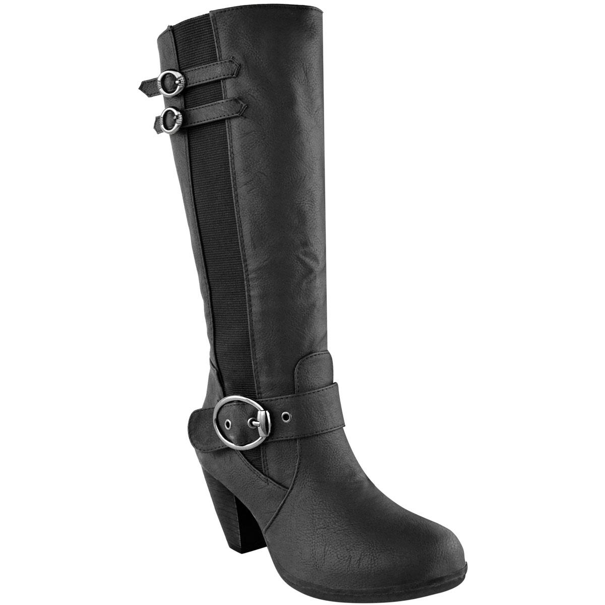 Womens-Ladies-Knee-Calf-High-Boots-Block-Heels-Stretchy-Thigh-Shoes-Grip-Size thumbnail 12