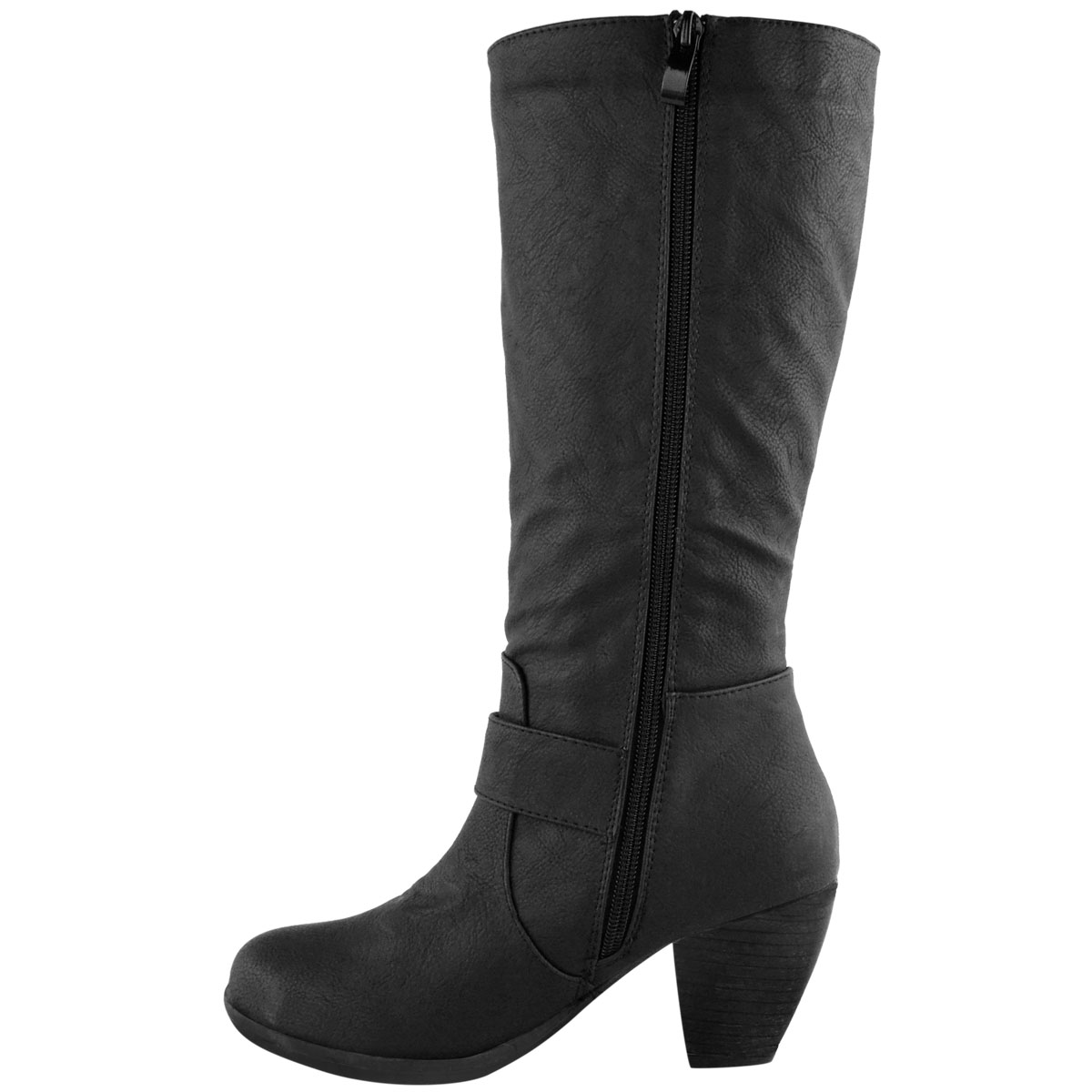 Womens-Ladies-Knee-Calf-High-Boots-Block-Heels-Stretchy-Thigh-Shoes-Grip-Size thumbnail 14