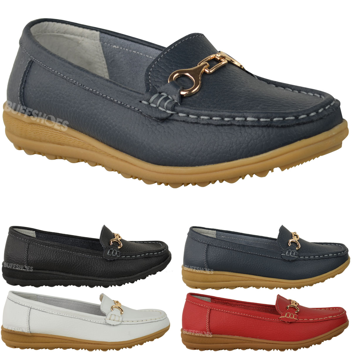 womens leather wedge shoes loafers slip on comfort