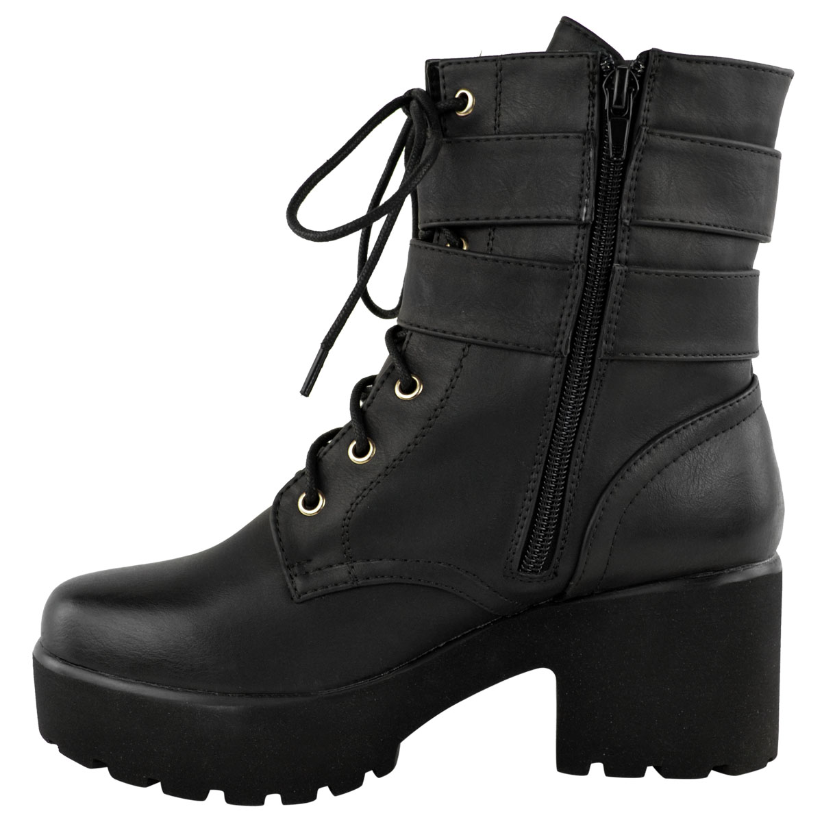 womens chunky ankle boots mid block heel biker