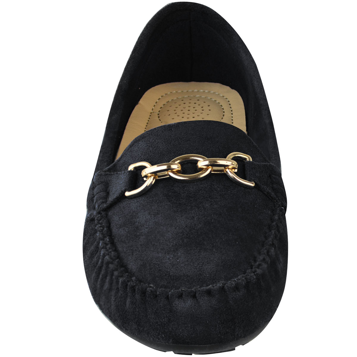 Womens Girls Black Flat Loafers Shoes