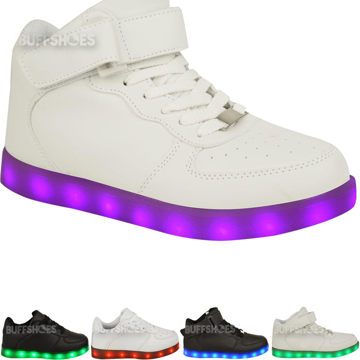 Enfants-filles-formateurs-feux-clignotant-led-lumineux-usb-chargeur-Lacets-Taille-UK-nouveau