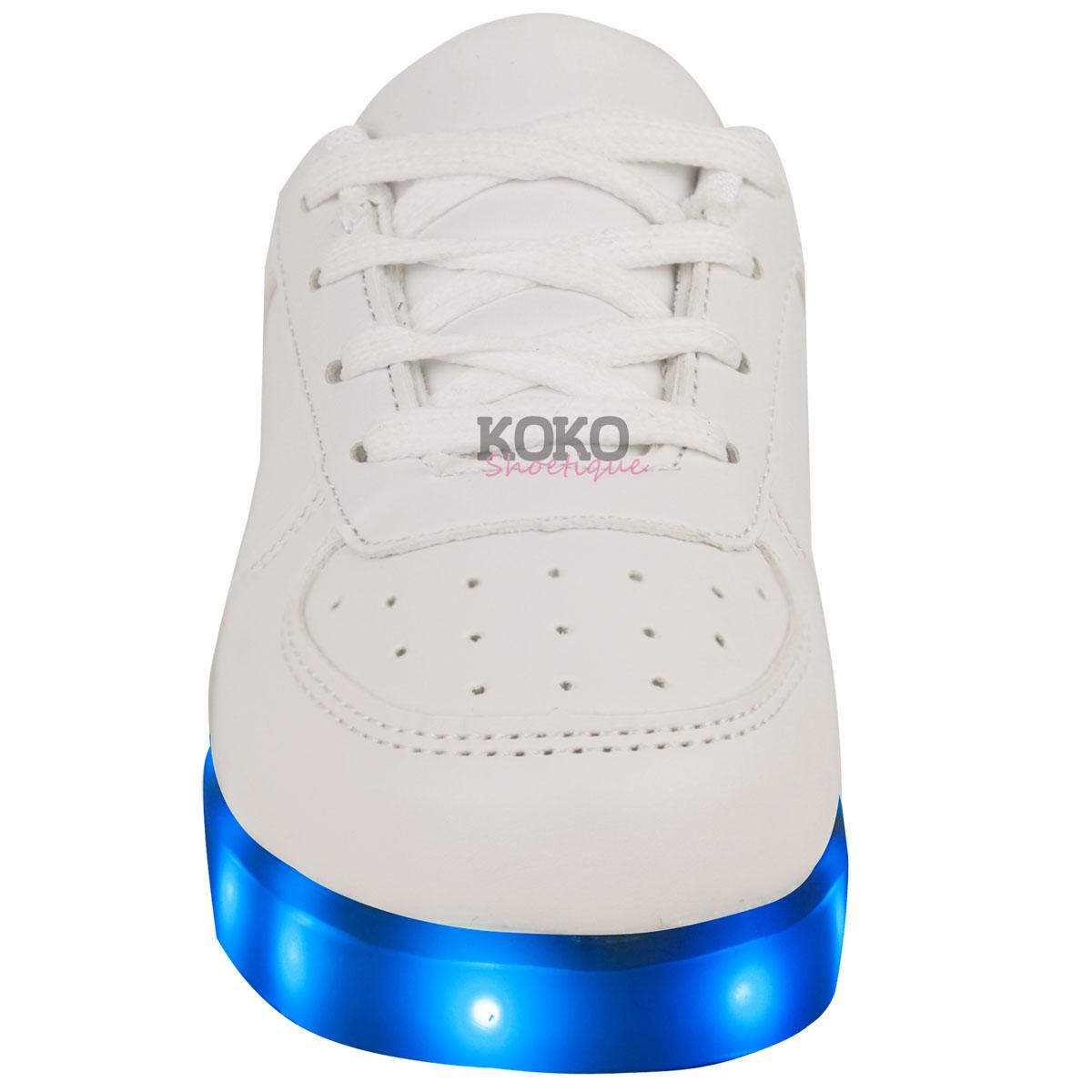 Girls Kids Trainers Flashing LED Luminous Lights USB Charger Lace Up Size New UK