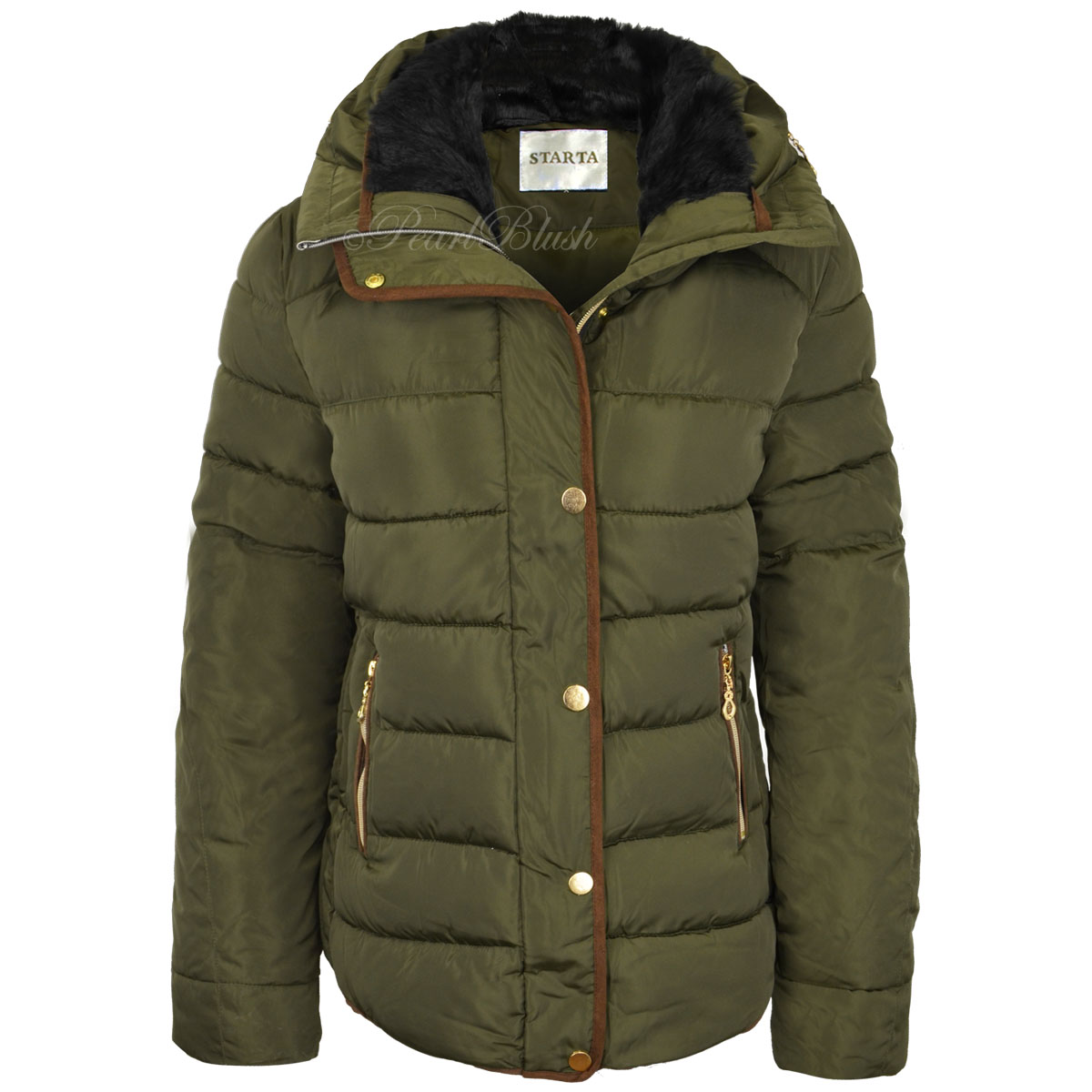 Womens Ladies Quilted Winter Coat Puffer Fur Collar Hooded ...