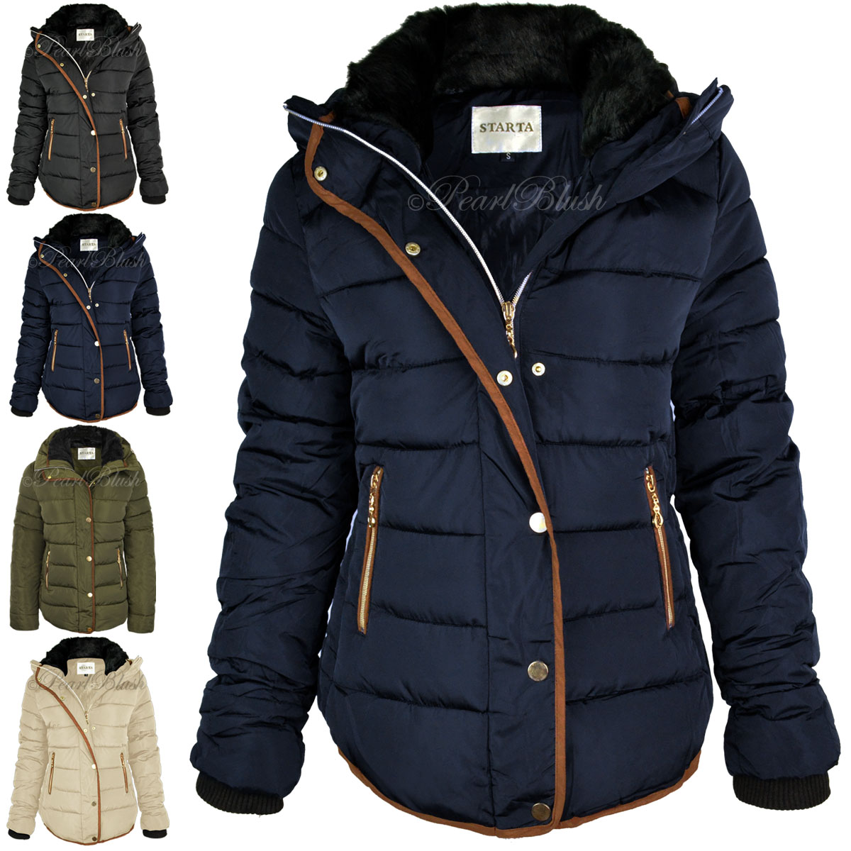 Womens Ladies Quilted Winter Coat Puffer Fur Collar Hooded Jacket ...
