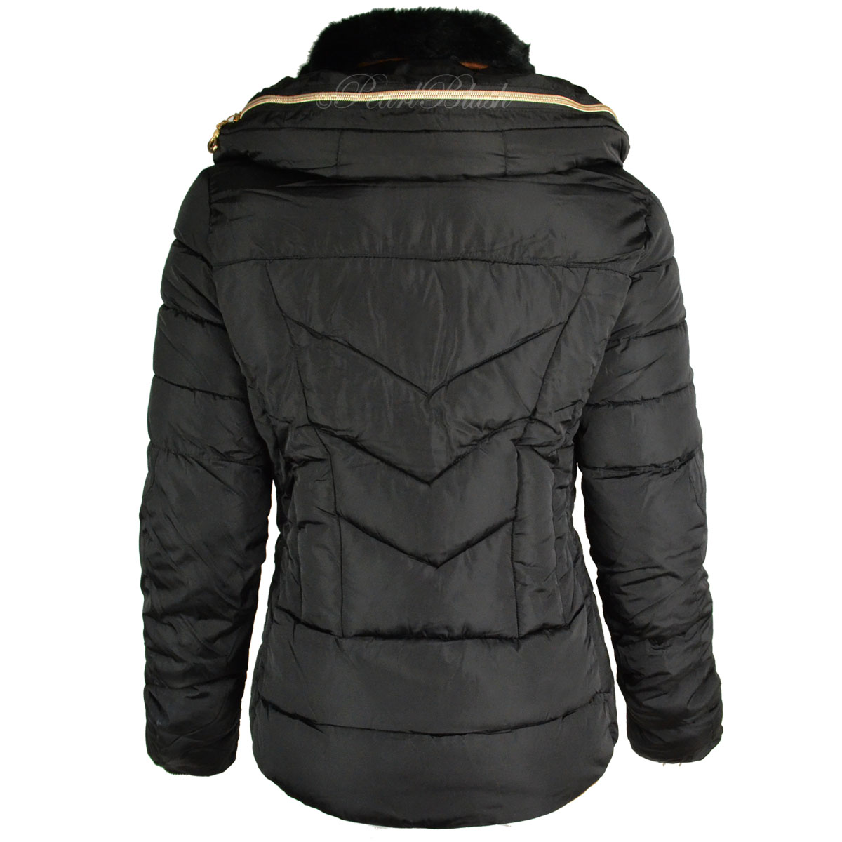 Womens Ladies Quilted Winter Coat Puffer Fur Collar Hooded Jacket Parka Size