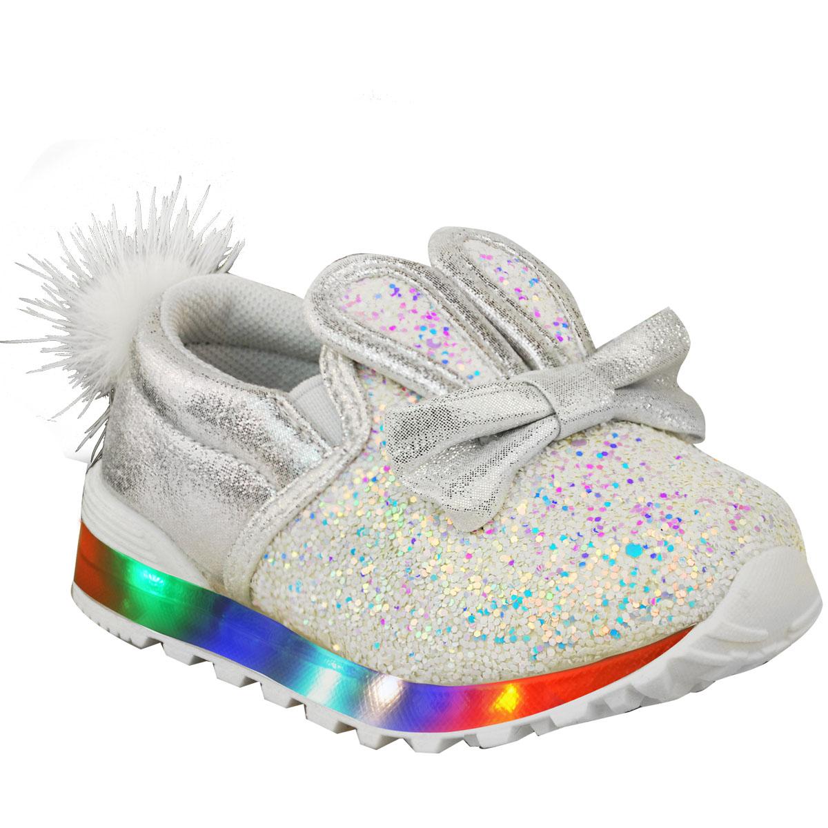 Neuf-Enfants-Filles-Bebes-DEL-Light-Up-Baskets-Lanieres-Baskets-Bebe-Chaussures-Taille