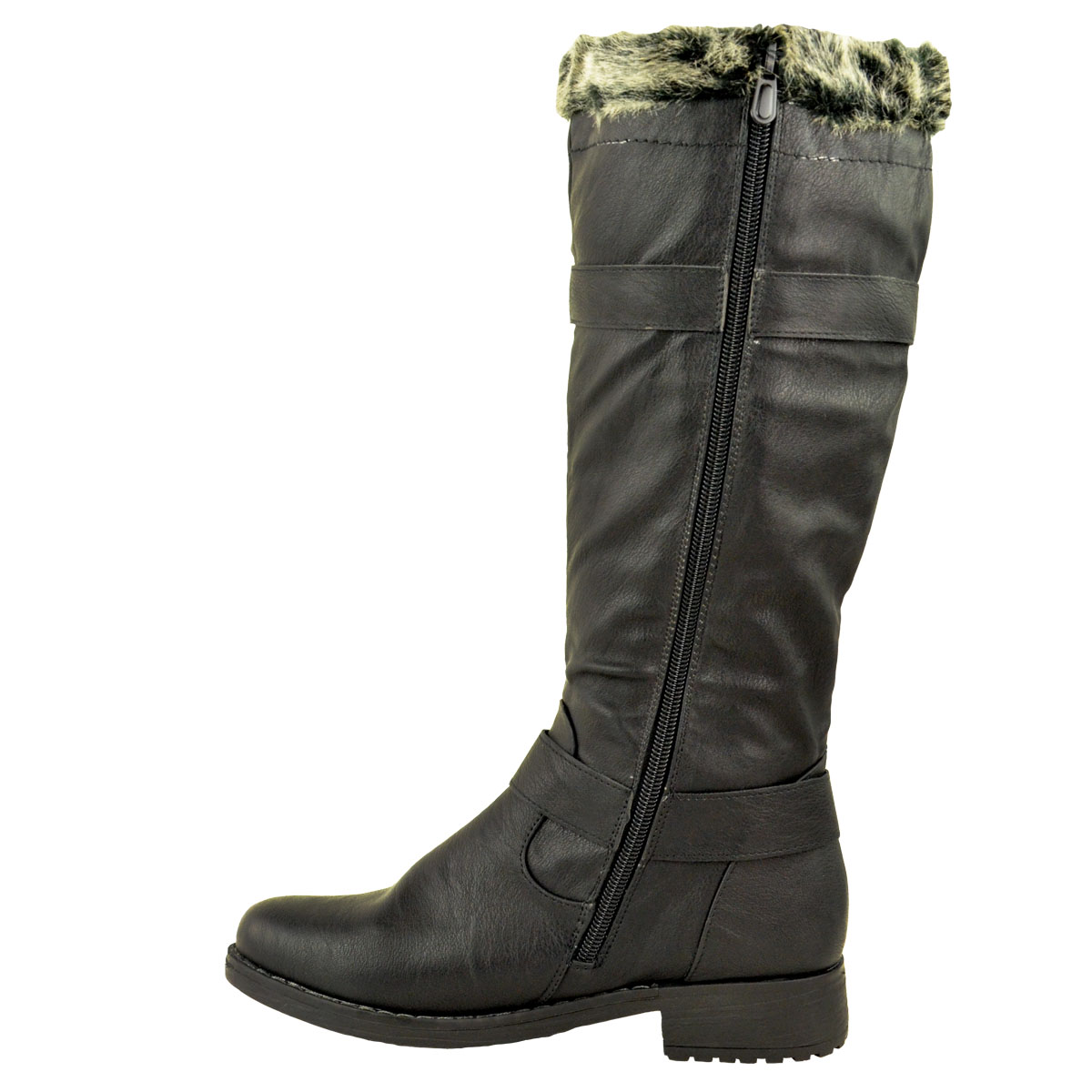 womens knee high flat boot low block heel lace up