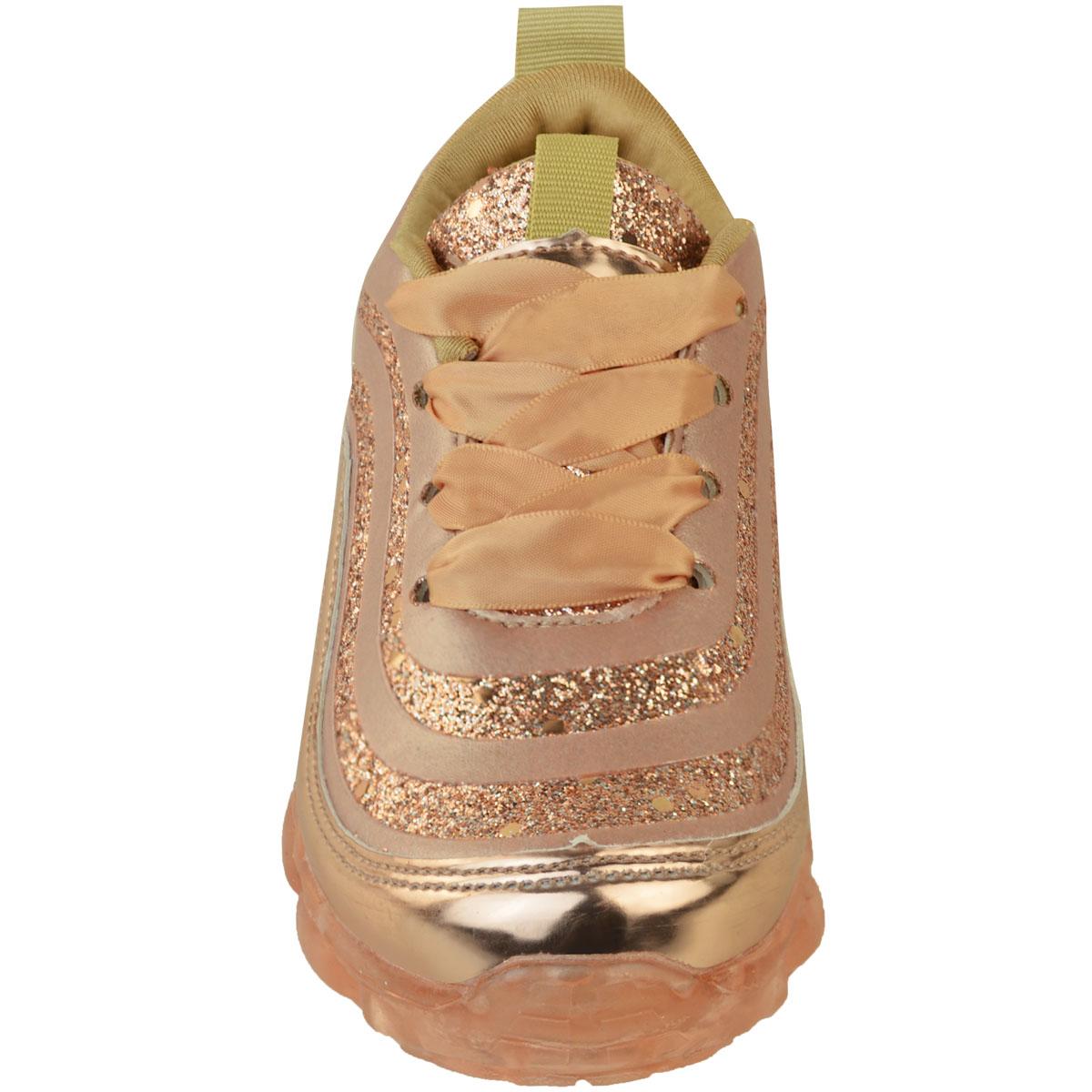 Silver-Rose-Enfants-Filles-Baskets-Parti-Paillettes-Strass-Baskets-Chaussures-De-Danse-Taille