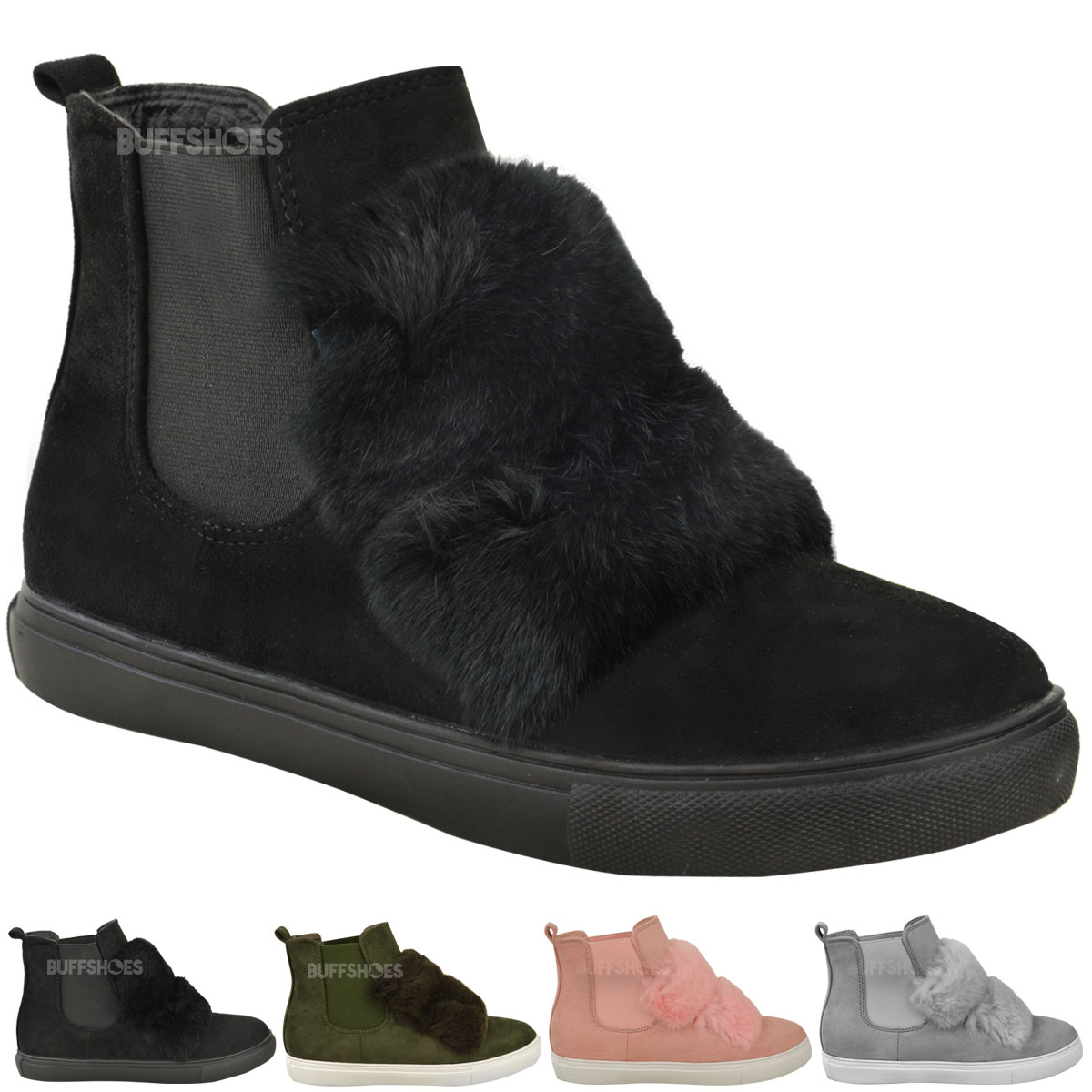 womens flat pull on ankle chelsea boots trainers