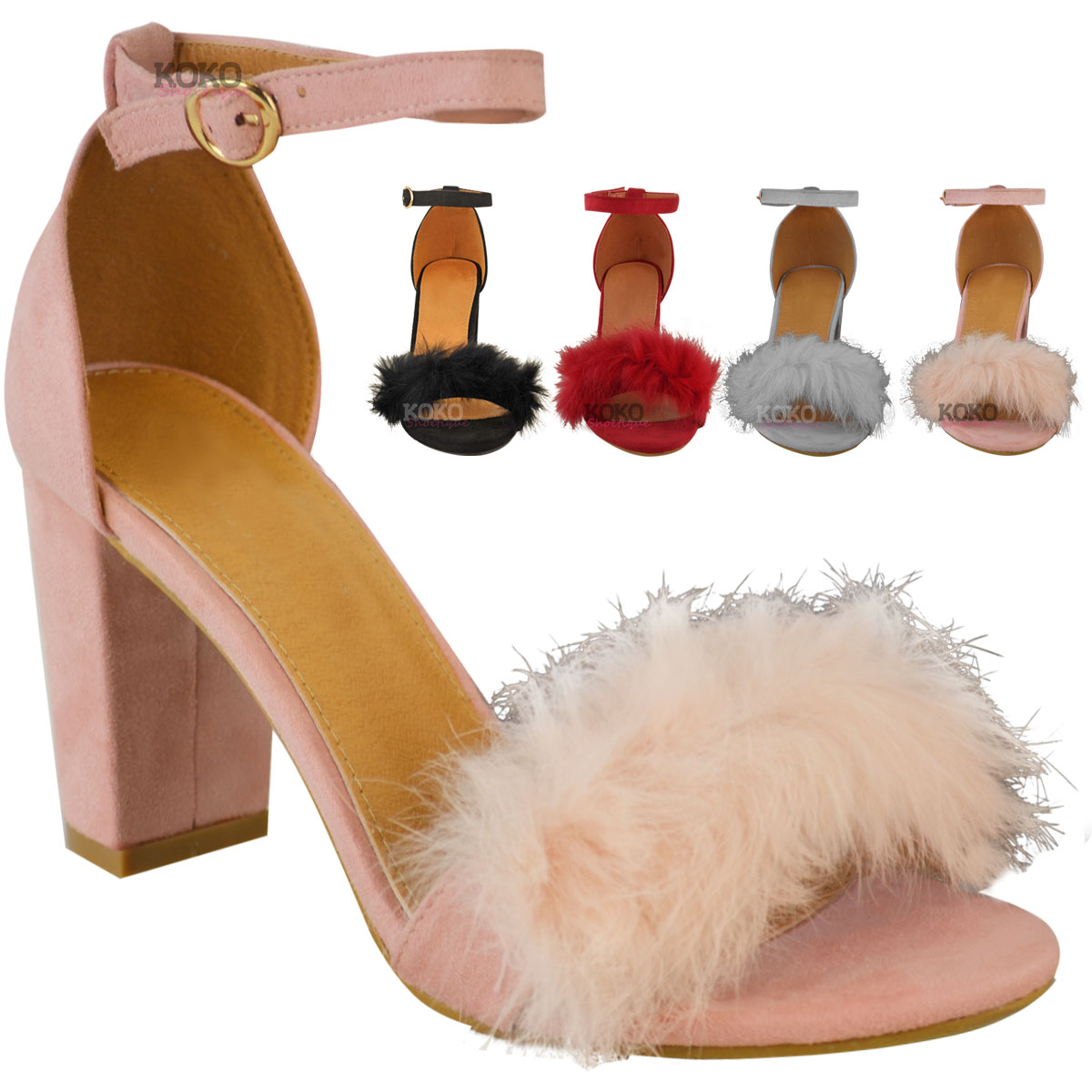 0da7cb21c0c Womens Ladies Faux Fur Fluffy Low Wedge Heel Sandals Strappy Party Shoes  Size UK