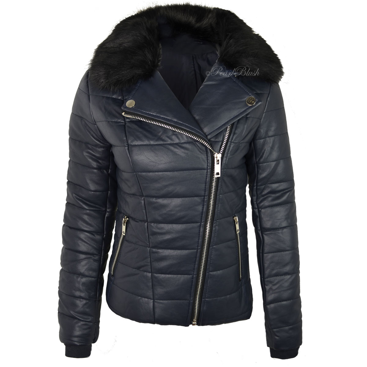WOMENS-LADIES-FAUX-LEATHER-BOMBER-JACKET-DETACHABLE-FUR- - WOMENS LADIES FAUX LEATHER BOMBER JACKET DETACHABLE FUR COLLAR