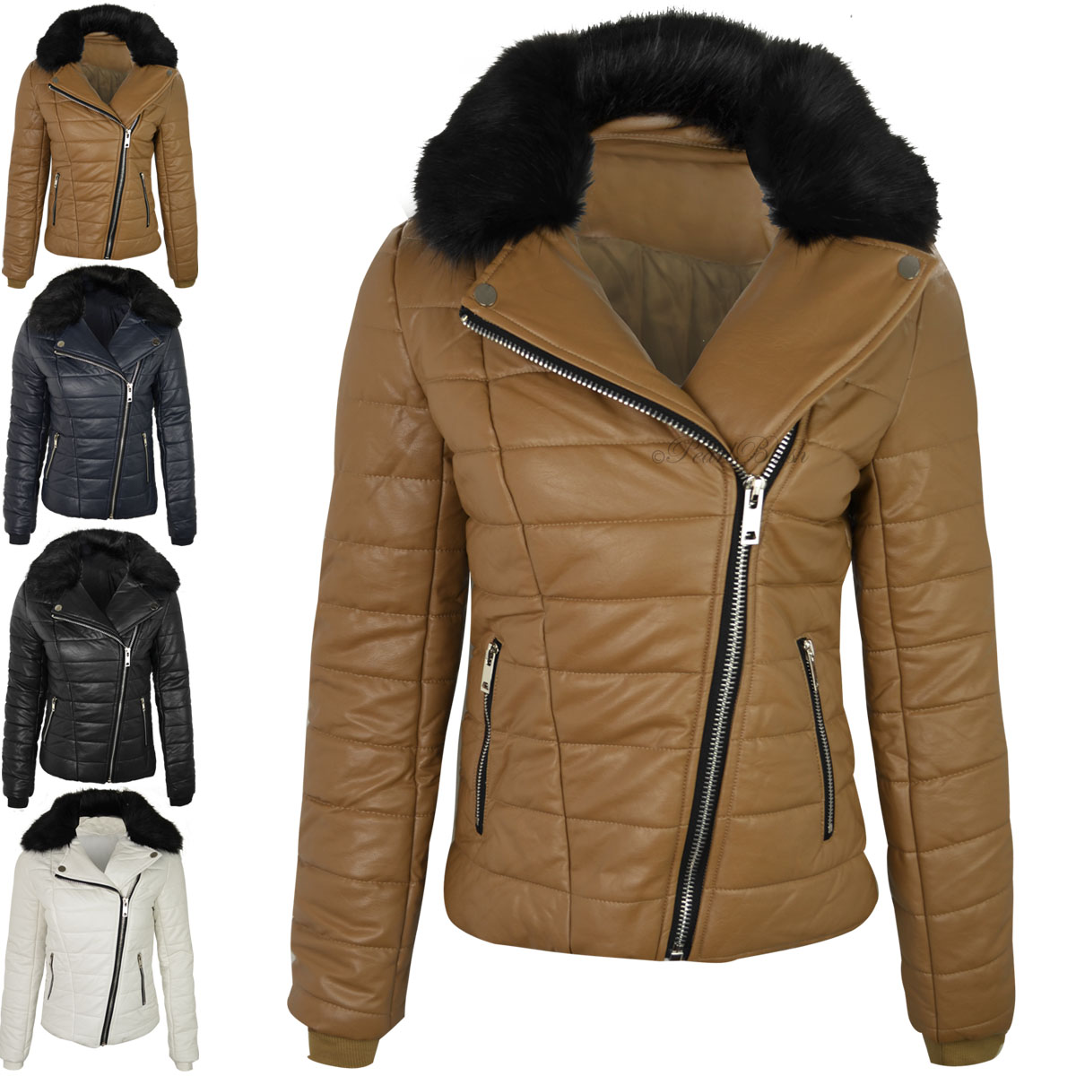 WOMENS LADIES FAUX LEATHER BOMBER JACKET DETACHABLE FUR COLLAR ...
