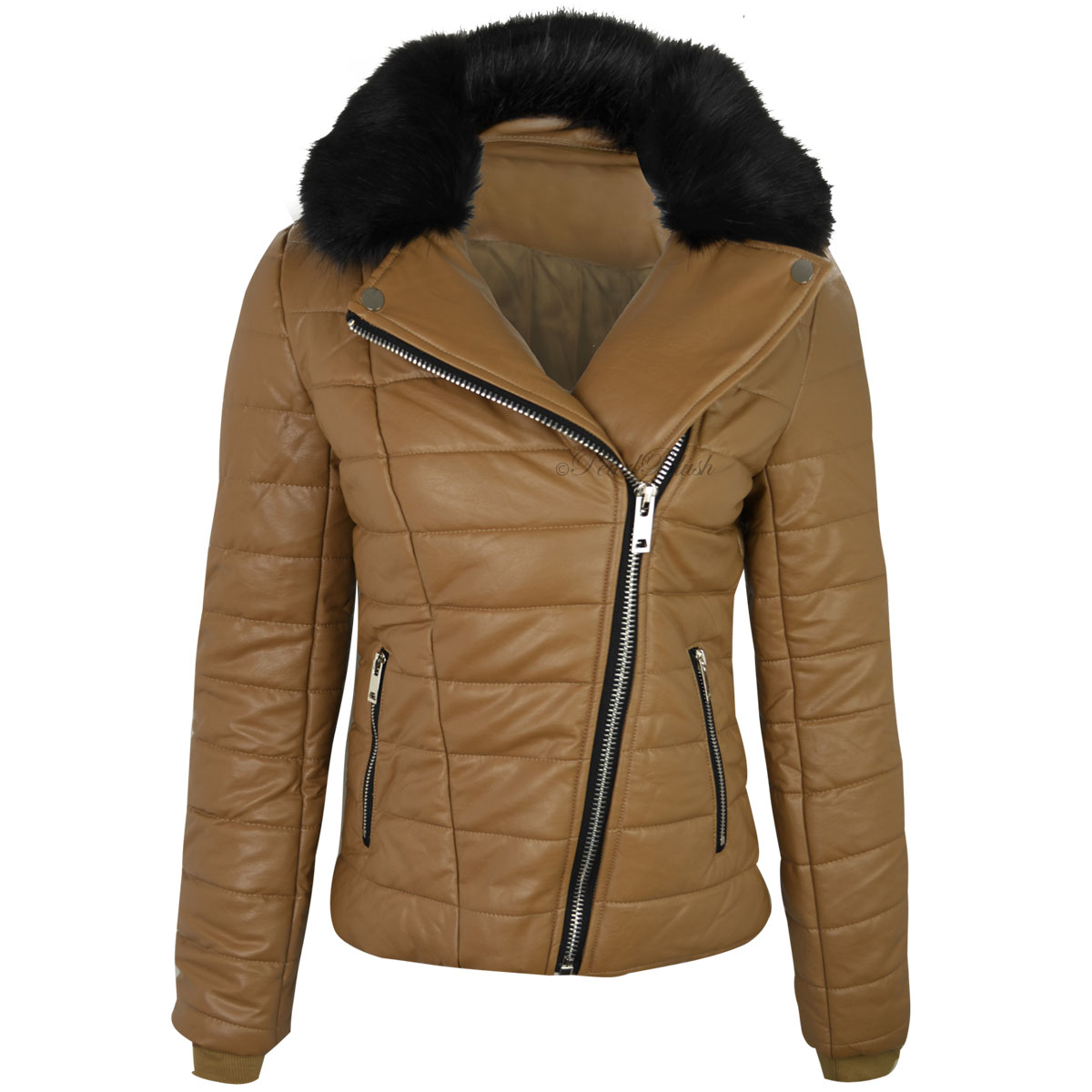 WOMENS LADIES FAUX LEATHER BOMBER JACKET DETACHABLE FUR ...