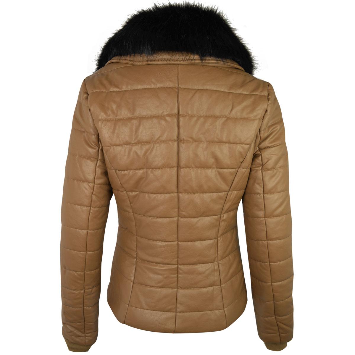 womens ladies faux leather bomber jacket detachable fur