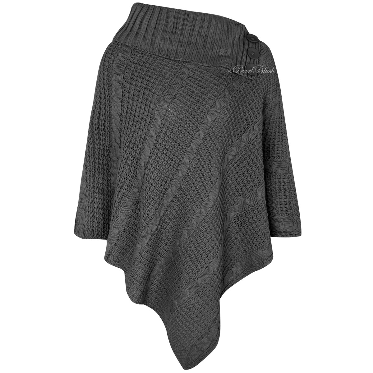 LADIES WOMENS PONCHO CHUNKY KNITTED WARM WINTER CAPE ...