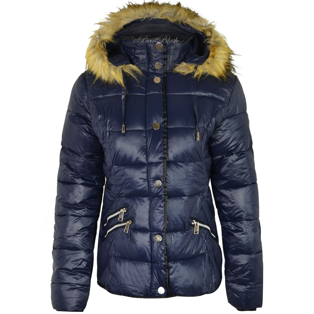 WOMENS LADIES FUR HOOD PUFFER QUILTED PADDED WETLOOK PARKA JACKET ...