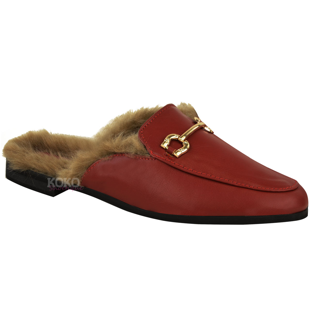 Womens Ladies Shearling Faux Fur Lined Sliders Shoes ...