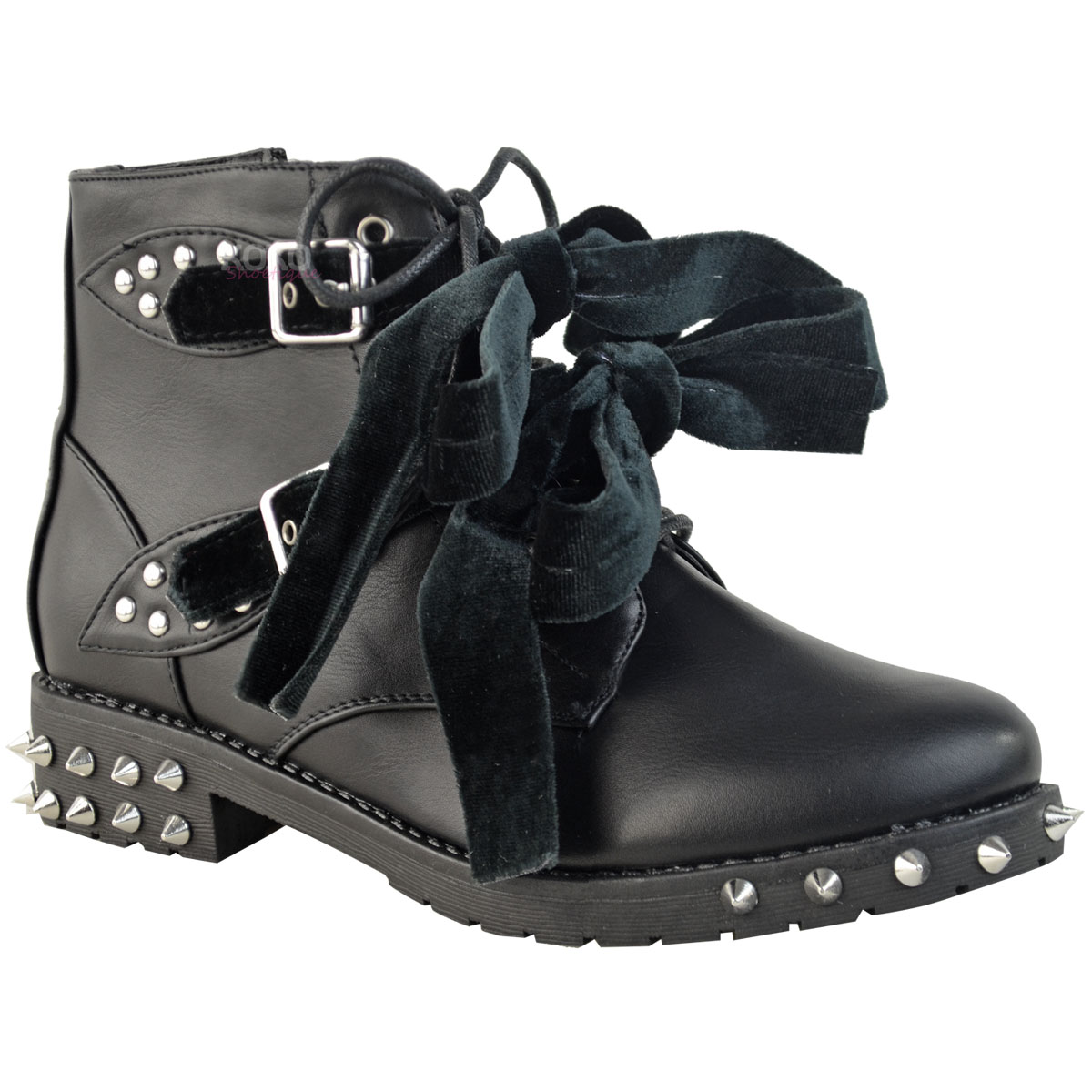 Womens Studded Spikes Low Heel Ankle Boots Biker Goth Size