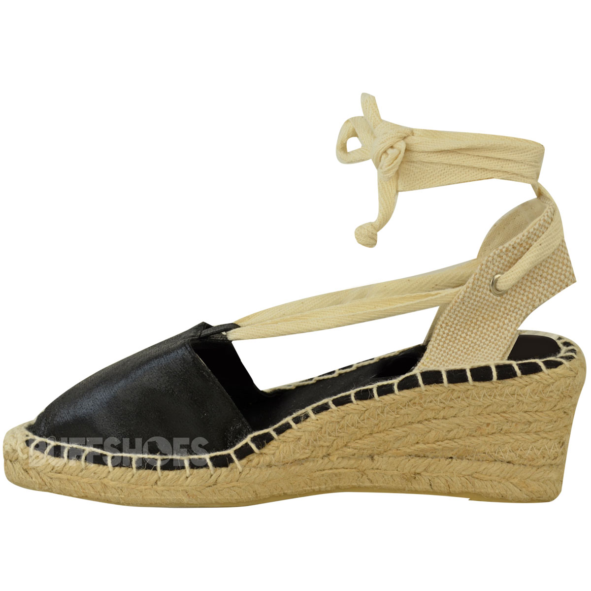 Womens Ladies Summer Wedges Low Heel Espadrilles Lace Up ...