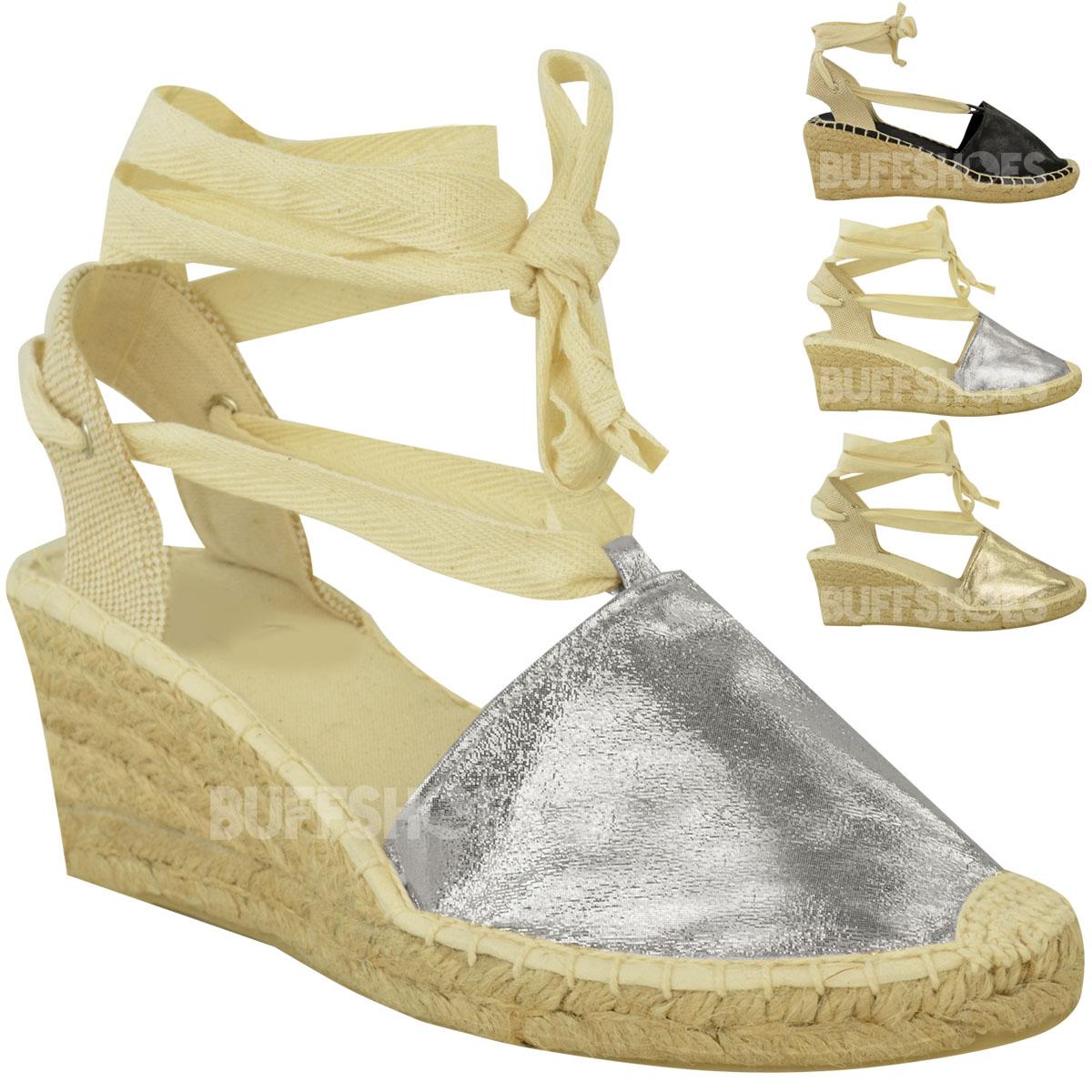 Womens Ladies Summer Wedges Low Heel Espadrilles Lace Up ...