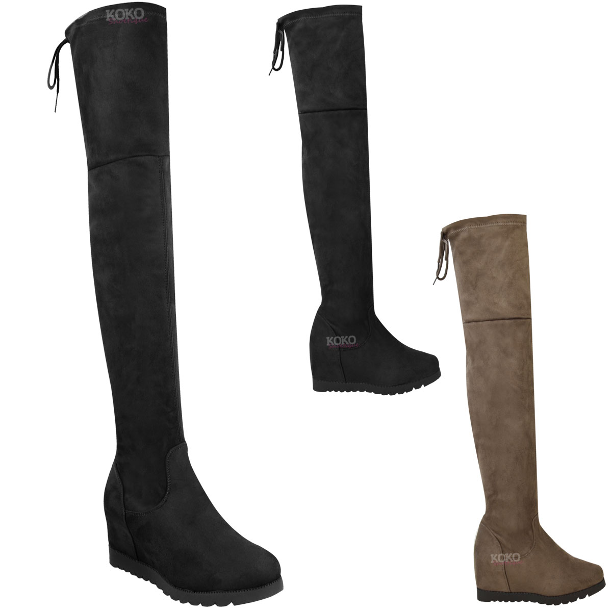 womens the knee wedge boots thigh high