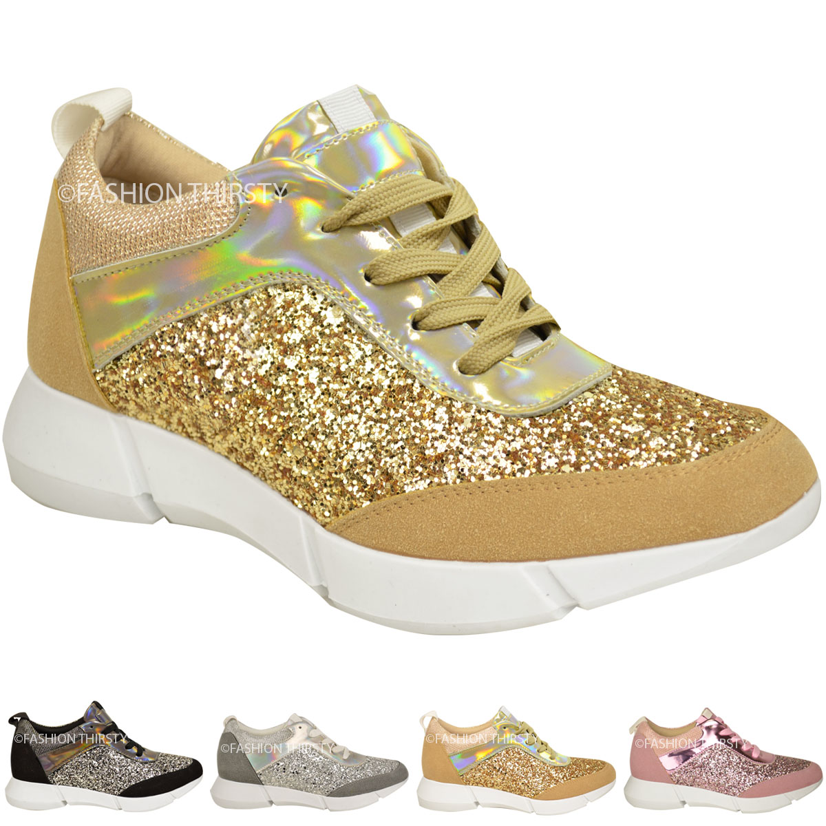 WOMENS LADIES GLITTER TRAINERS SNEAKERS FASHION CASUAL GYM SPORT FITNESS SIZE