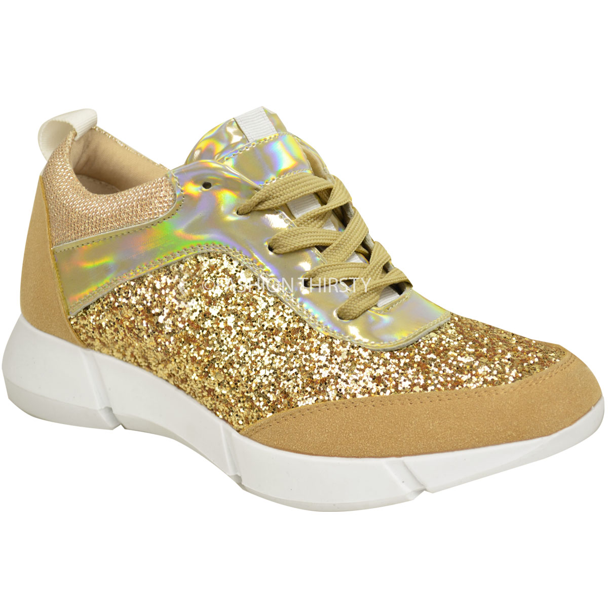 Fashion Thirsty Fashion Thirsty Womens Glitter Sneakers Trainers Fashion Casual Gym Sport Fitness Size Gold Faux Suede Glitter Hologram Factory Price
