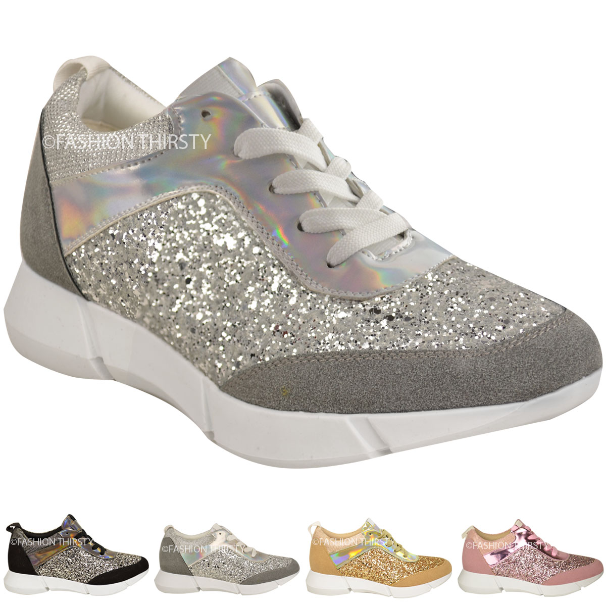 WOMENS LADIES GLITTER TRAINERS SNEAKERS FASHION CASUAL GYM SPORT FITNESS SIZE | eBay