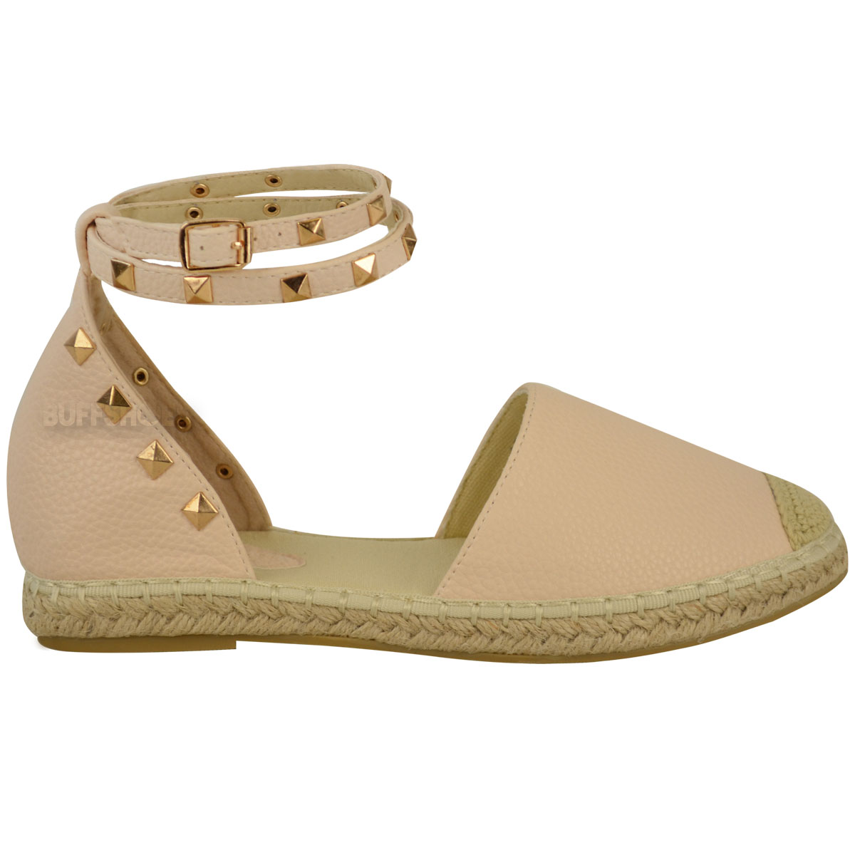 Womens Ladies Espadrilles Ankle Strappy Flat Summer