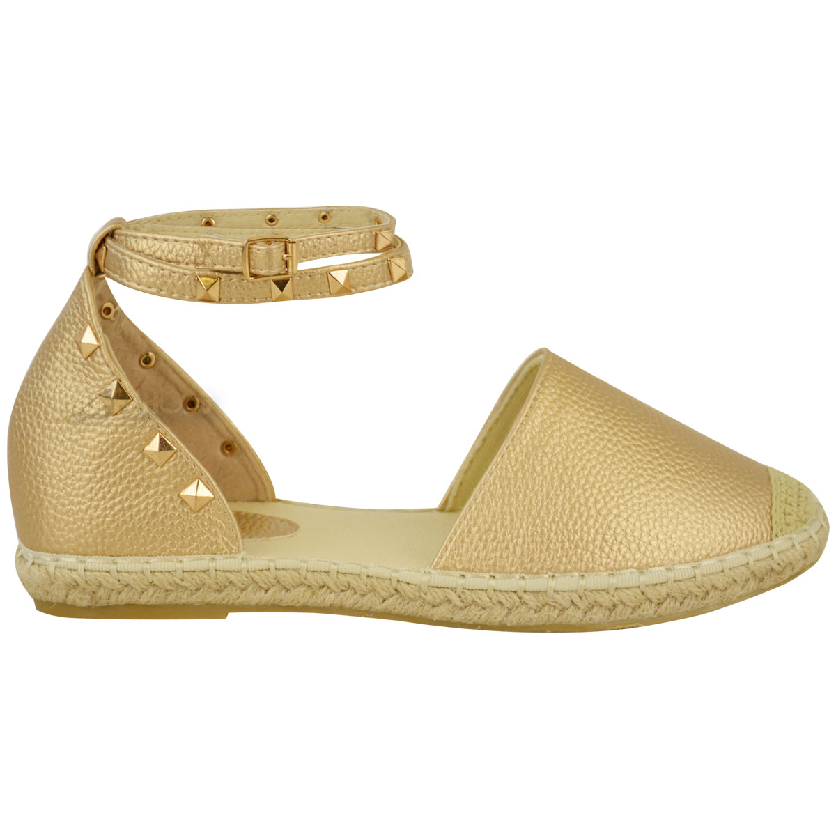 Womens Ladies Espadrilles Ankle Strappy Flat Summer ...