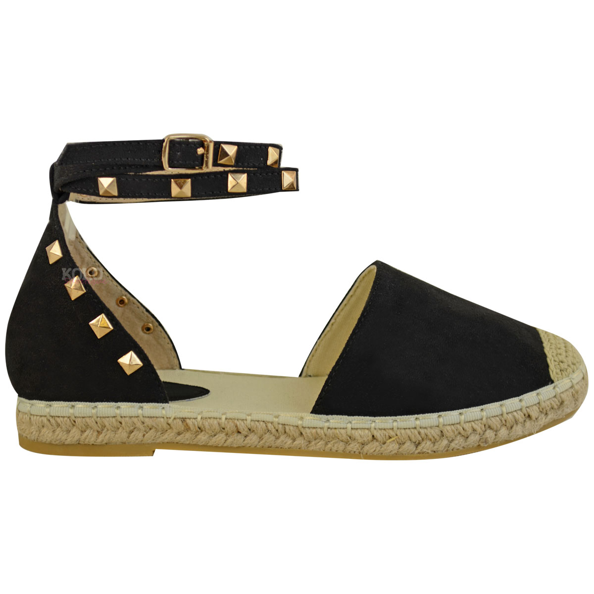 Ladies Flat Espadrilles Womens Summer Rock Strappy Ankle Sandals PTdWSWfn