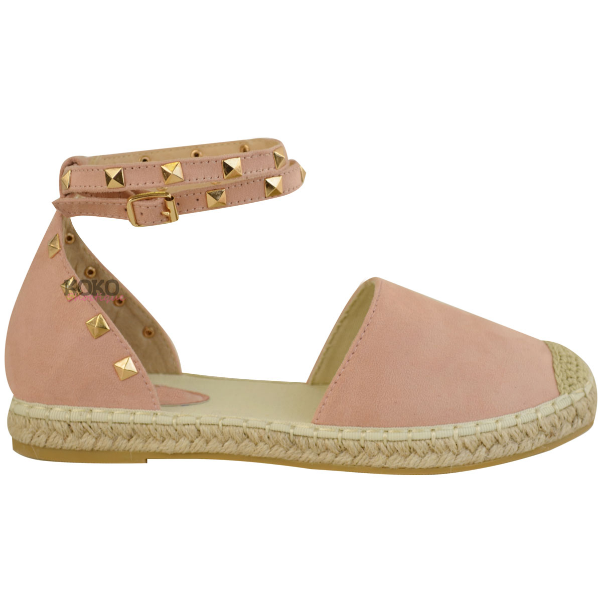 Womens Ladies Studded Espadrilles Flats Ankle Strappy