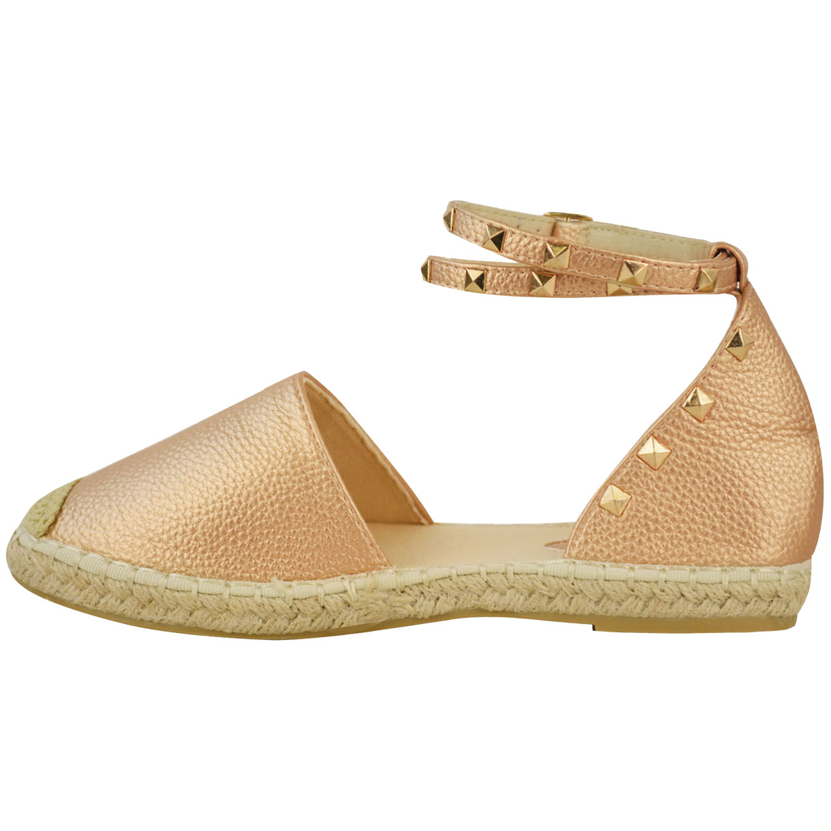 Womens Ladies Flat Espadrille Rose Strappy Sandals Wedge ...
