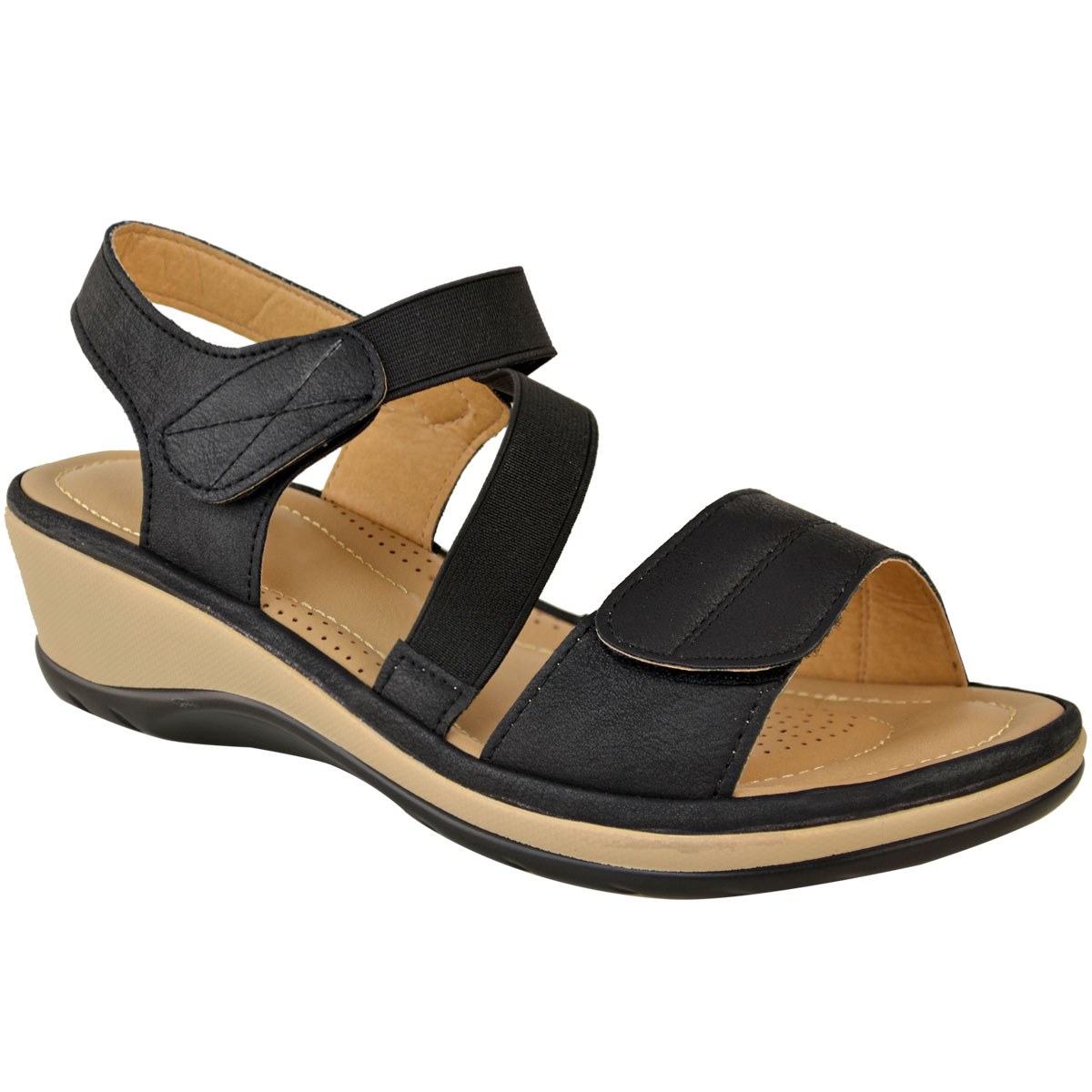New Womens Ladies Wide Fit Stretch Comfy Sandals Cushioned