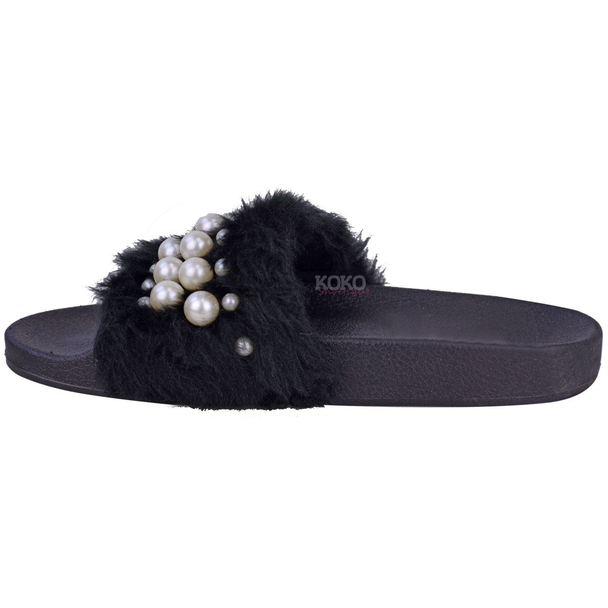 Womens Ladies Flat Slip On Faux Fur Sliders Pearl Sandals