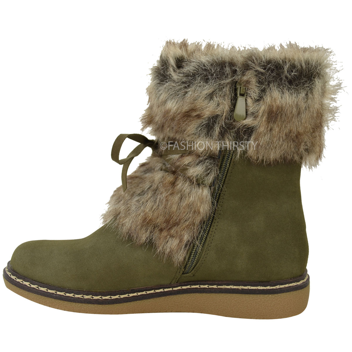 womens flat low wedge faux fur winter ankle boots