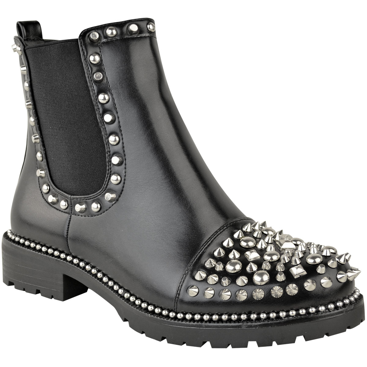Womens Studded Ankle Boots Stud Toe Low