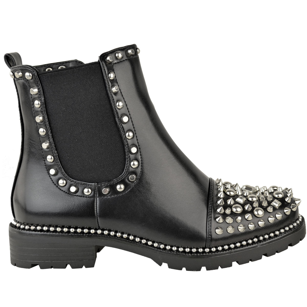 New-Womens-Ladies-Studded-Goth-Zip-Ankle-Boots-Gusset-Chelsea-Chunky-Punk-Size Indexbild 7