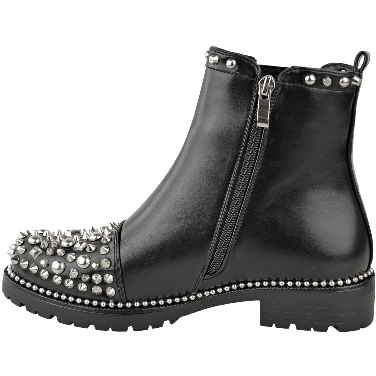 New-Womens-Ladies-Studded-Goth-Zip-Ankle-Boots-Gusset-Chelsea-Chunky-Punk-Size Indexbild 8
