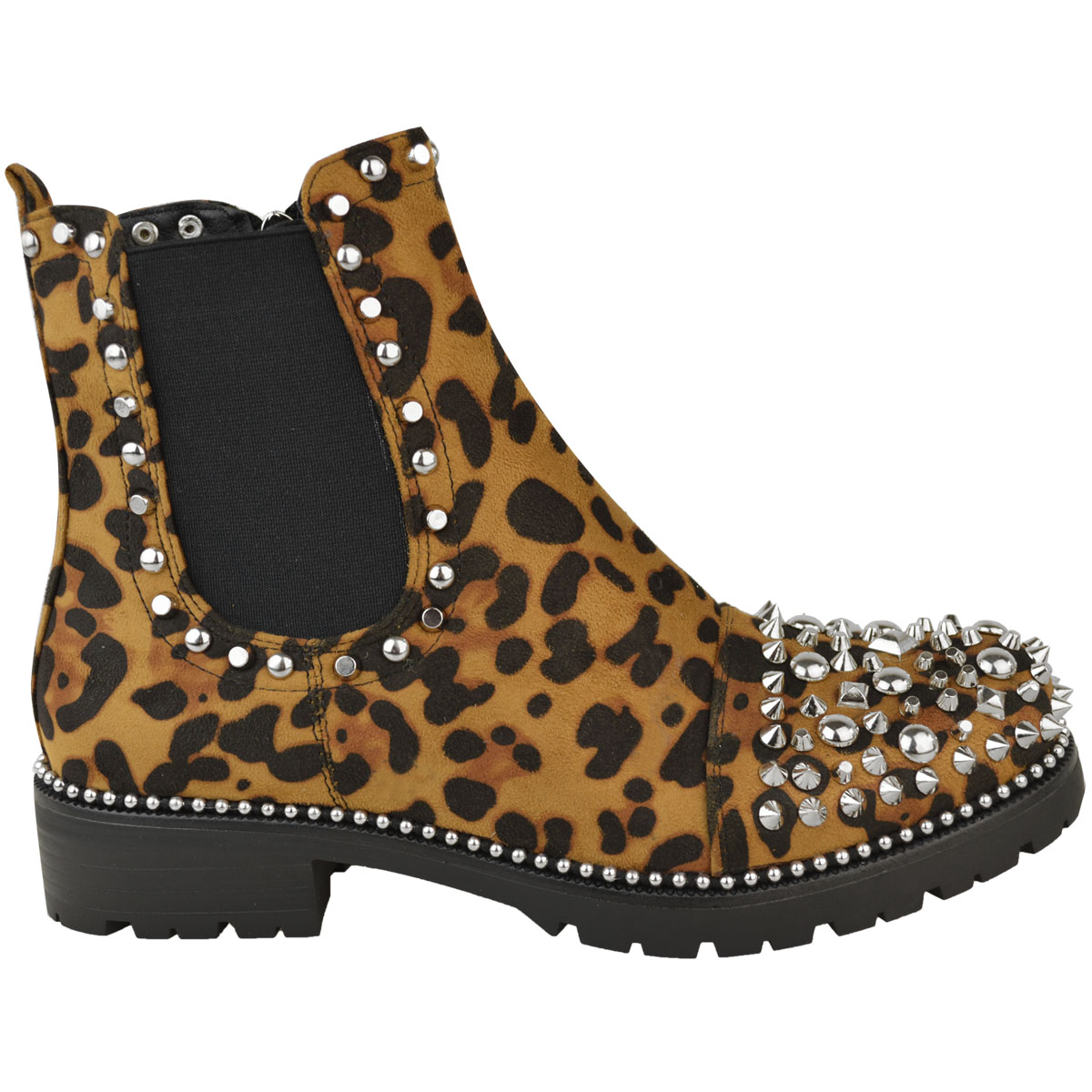 New-Womens-Ladies-Studded-Goth-Zip-Ankle-Boots-Gusset-Chelsea-Chunky-Punk-Size Indexbild 11