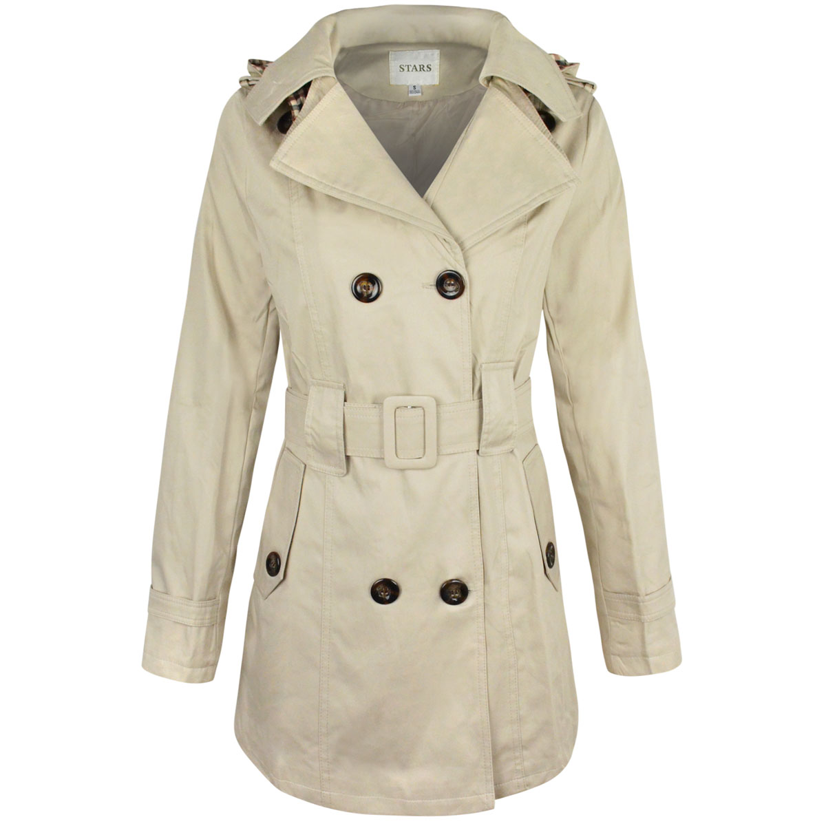 860a479de32 New Womens Mac Coat Trench Jacket Double Breasted Belted Summer ...