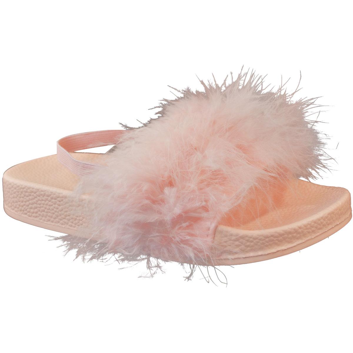 Kids Girls Faux Fur Sliders Summer