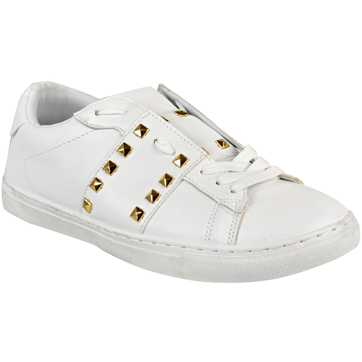 WOMENS SHOES LADIES TRAINERS SNEAKERS PUMPS SKATER FLAT STUDDED LACE UP SIZE NEW