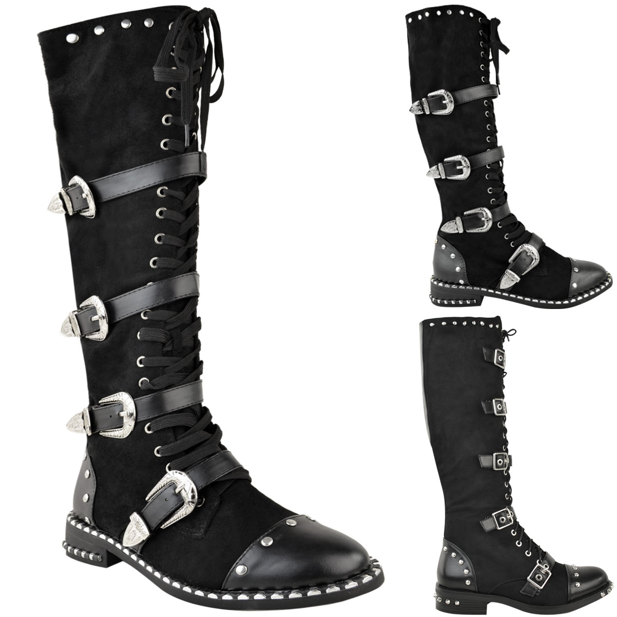 Womens Ladies Knee High Boots Studded Punk Grunge Rock