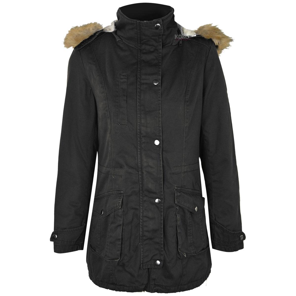 womens ladies winter long parka coat warm fleece lined. Black Bedroom Furniture Sets. Home Design Ideas