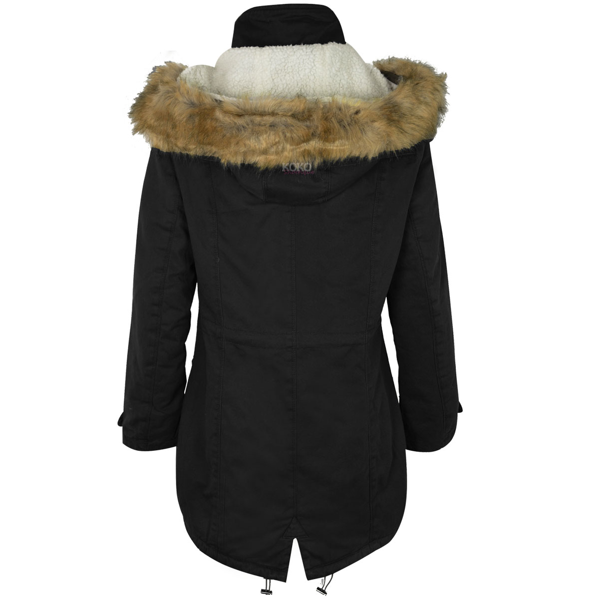 WOMENS LADIES WINTER LONG PARKA COAT WARM FLEECE LINED ...