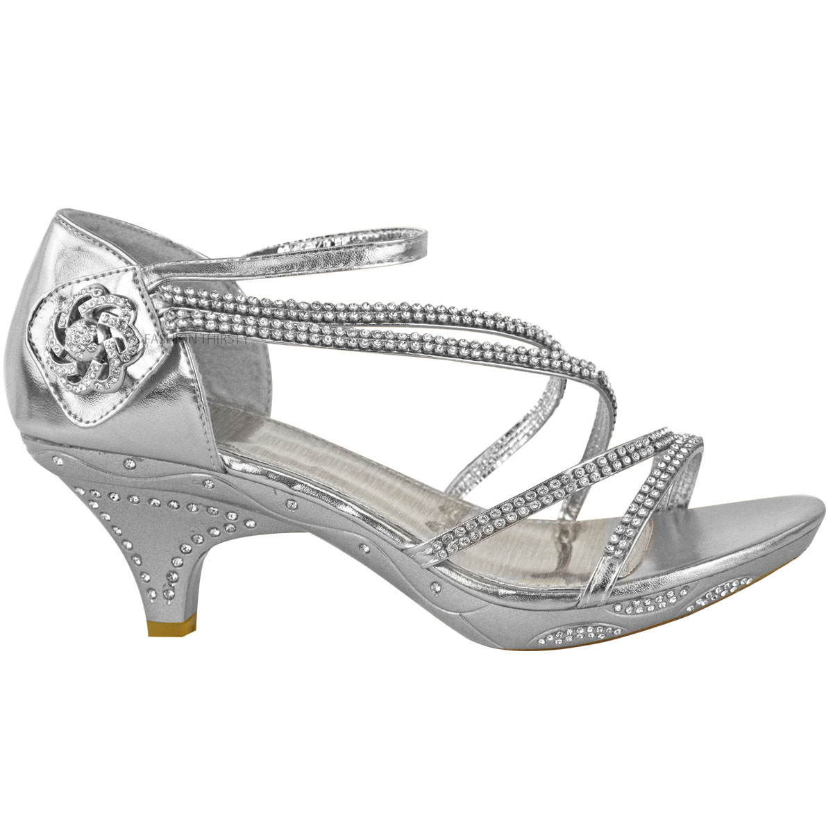 Details about Womens Ladies Low Heel Diamante Bridal Wedding Sandals Strappy Party Shoes Size