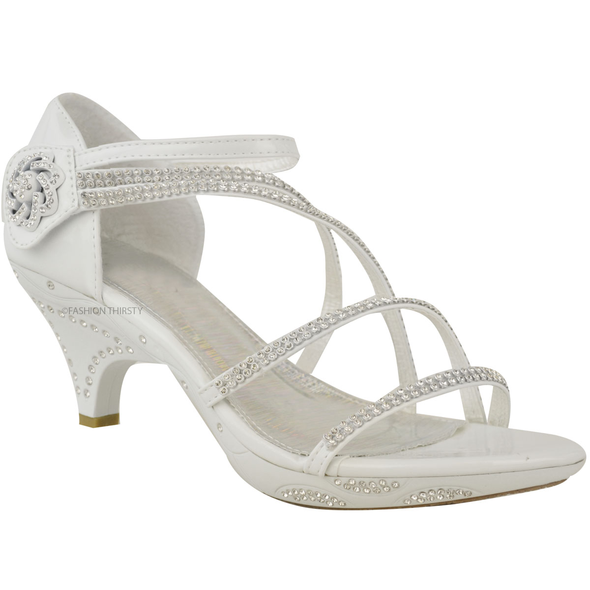 Womens Ladies Low Heel Diamante Bridal Wedding Sandals