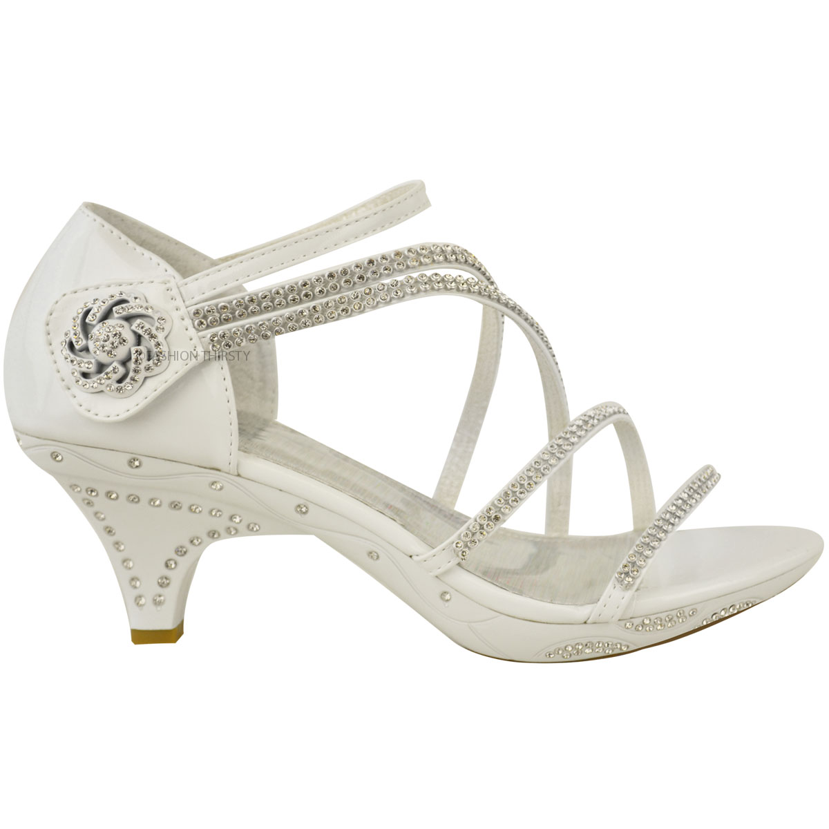 Womens-Ladies-Low-Heel-Diamante-Bridal-Wedding-Sandals-Strappy-Party-Shoes-Size